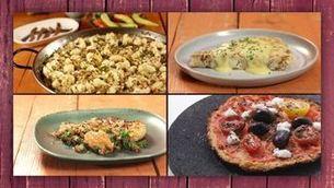 Coliflor amb arròs, truita, estofada i en pizza
