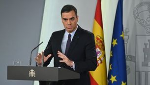 Pedro Sánchez, durant una roda de premsa a La Moncloa (EFE/Fernando Villar)