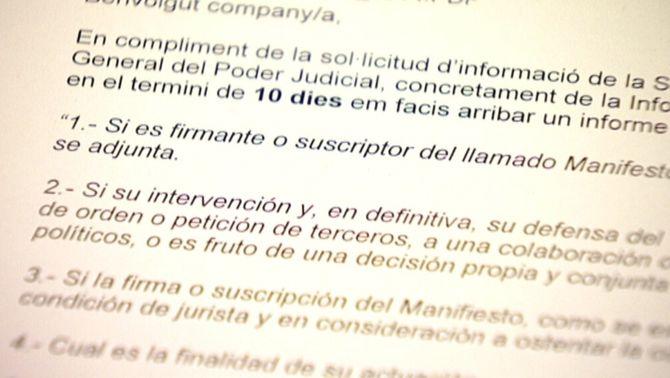 Indignació dels jutges catalans firmants del manifest pel dret a decidir per un qüestionari del CGPJ