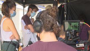 """Una imatge de la visita al rodatge de la sèrie """"Buga Buga"""""""