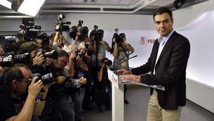 Pedro Sánchez anunciant la seva dimissió aquest dissabte