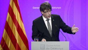 Carles Puigdemont anunciant els canvis al govern