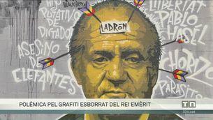 Polèmica per la neteja d'un grafiti del rei emèrit en suport de Pablo Hasél