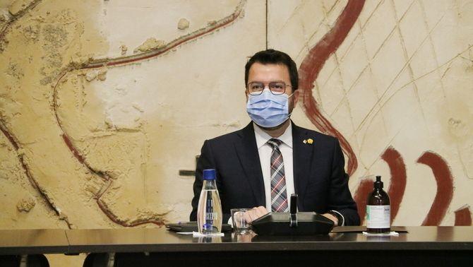 Aragonès, durant la reunió del govern d'aquest 12 d'octubre