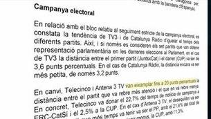 TV3 i Catalunya Ràdio, els mitjans més equilibrats i plurals en la cobertura del 21D, segons el CAC