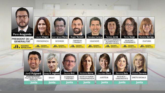 Els 14 consellers del govern de Pere Aragonès