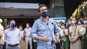 Casado, durant la manifestació del passat 13 de juny a la plaça Colón de Madrid en contra dels indults (Europa Press/Alejandro Martínez Vélez)