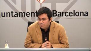 Gerardo Pisarello, primer tinent d'alcalde de l'Ajuntament de Barcelona, en la conferència de premsa d'avui