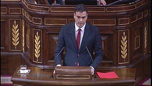 Pedro Sánchez, durant la seva intervenció al ple contra la corrupció al Congrés.