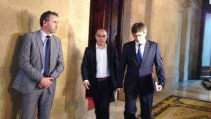 Carles Puigdemont, després de la reunió d'aquest dimecres al Parlament abans del ple