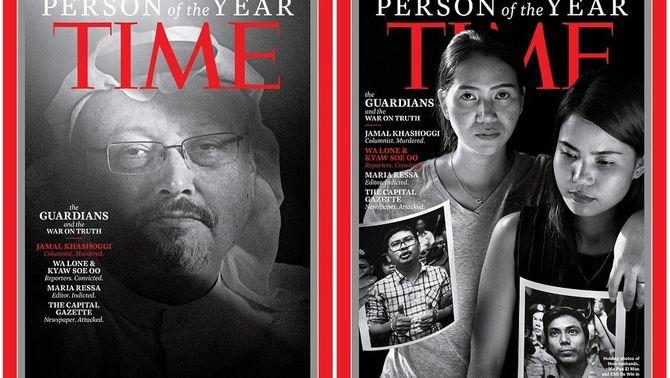 """Khashoggi i les dones dels periodistes empresonats a Birmània, en les portades de """"Time"""" (Reuters)"""