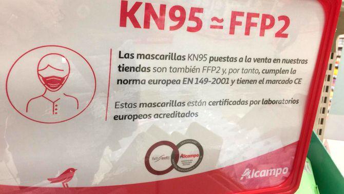 Les mascaretes FFP2 i KN95 són el mateix? Un vídeo que corre per xarxes socials i WhatsApp denuncia que la cadena de supermercats Alcampo intenta 'enganyar' els clients etiquetant mascaretes KN95 com