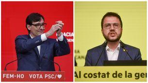 Salvador Illa i Pere Aragonès durant els discursos d'aquesta nit electoral (EFE)