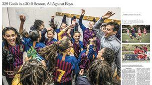 Doble pàgina del The New York Times dedicada a l'aleví del Barça