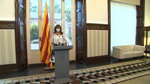 Laura Borràs anunciant la concessió de la Medalla d'Honor del Parlament