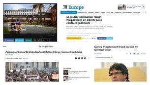 La llibertat de Puigdemont, a la premsa internacional