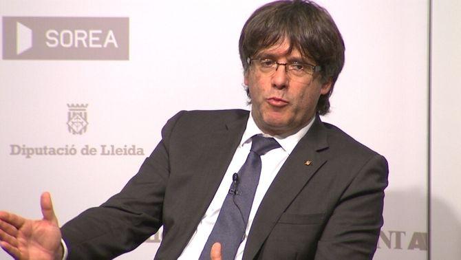 Puigdemont en una conferència a Girona