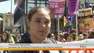 Estudiants universitaris i de Secundària es manifesten pel centre de Girona