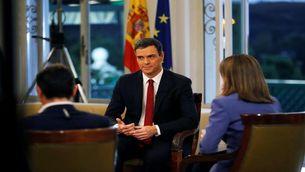 Pedro Sánchez, en un moment de l'entrevista a TVE