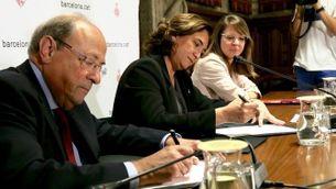 La firma de l'acord entre l'Ajuntament de Barcelona i la Sagrada Família