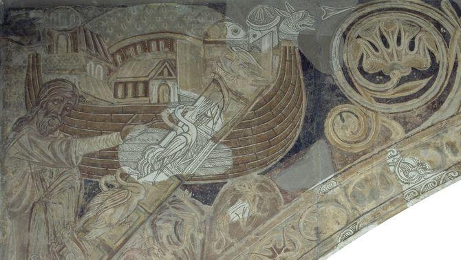 Detall del mural de Sixena al MNAC