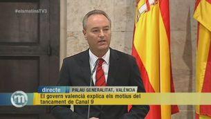Compareixença d'Alberto Fabra per explicar el tancament de RTVV