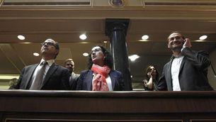 Els tres diputats del Parlament, abans de començar la seva intervenció al Congrés. (Foto: EFE)