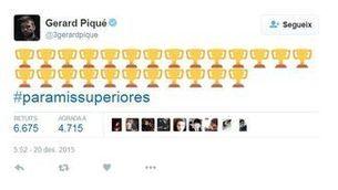 """Piqué dedica la victòria als seus """"superiors"""" en un tuit"""