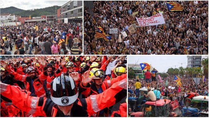 Multitudinàries manifestacions arreu del país contra la brutalitat policial de l'1-O