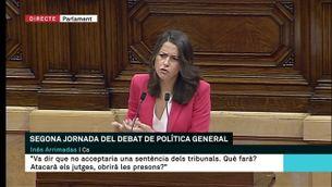 """Inés Arrimadas acusa el govern de Torra de malmetre l'economia i """"crear xiringuitos"""""""