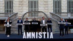Els nou presos independentistes, en un acte a favor de l'amnistia quan tenien el tercer grau penitenciari (EFE / Quique Garcia)