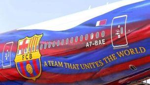 El triomf del Barça, a l'avió de tornada