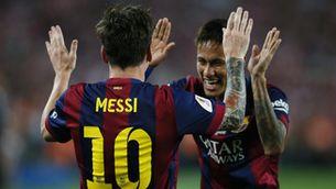 Messi i Neymar celebren un gol davant l'Athletic Club (Reuters)
