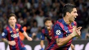 Luis Suárez celebra el seu gol (EFE).