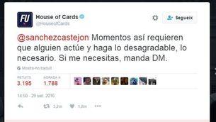 """El tuit de """"House of cards"""" està tenint molta repercussió a les xarxes"""