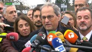 """Quim Torra: """"És un dia de celebració perquè dos eurodiputats catalans entren de nou al Parlament Europeu"""""""