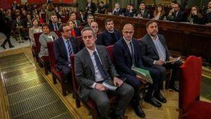 Els dirigents polítics independentistes condemnats pel Suprem en un moment del judici