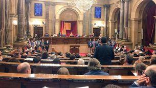 Imatge de recurs del ple del Parlament després d'incloure's la llei de transitorietat en l'ordre del dia