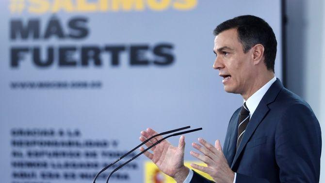 Roda de premsa de Pedro Sánchez per anunciar els detalls del fons de reconstrucció (EFE/Mariscal)