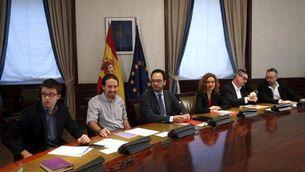Reunió dels representants del PSOE, C's i Podem