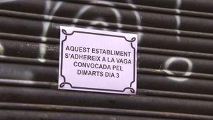 """Molts petits comerços han penjat el cartell de """"tancat per vaga"""""""