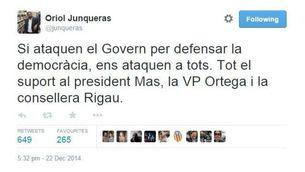 La piulada d'Oriol Junqueras contra la decisió del TSJC.