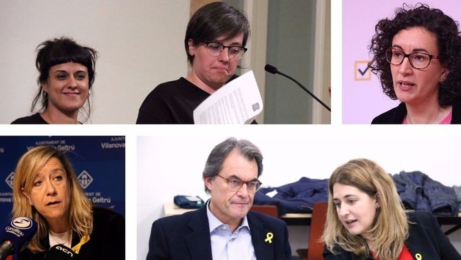 Anna Gabriel, Mireia Boya, Marta Rovira, Neus Lloveras, Artur Mas i Marta Pascal, en imatges d'arxiu (ACN)