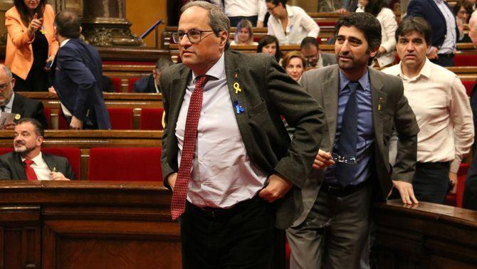 Torra al Parlament després de la votació (Font: ACN)