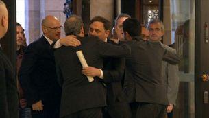 El retorn de Bassa, Junqueras, Forn, Romeva, Rull i Turull al Parlament