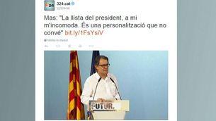 Tuit sobre la conferència d'Artur Mas