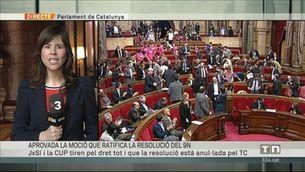 El Parlament aprova la moció de suport a la declaració del 9-N amb els vots de Junts pel Sí i la CUP