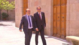 El president Quim Torra i Miquel Iceta, líder del PSC al Palau de la Generalitat