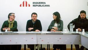 Pere Aragonès, Marta Vilalta, Josep Maria Jové i Gabriel Rufián a l'executiva d'ERC (Quique Garcia / EFE)