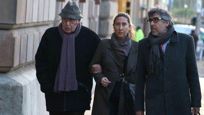 Jordi Montull, Gemma Montull i Jordi Pina, entrant a l'Audiència de Barcelona per conèixer la sentència del Cas Palau, 15 de gener de 2018